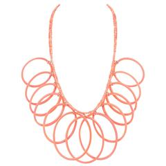 MISSONI c.1980's Pink Salmon Lucite Oval Hoops Statement Necklace NOS