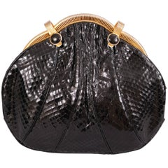 Judith Leiber Black Snakeskin Bag with Onyx and Gold Frame