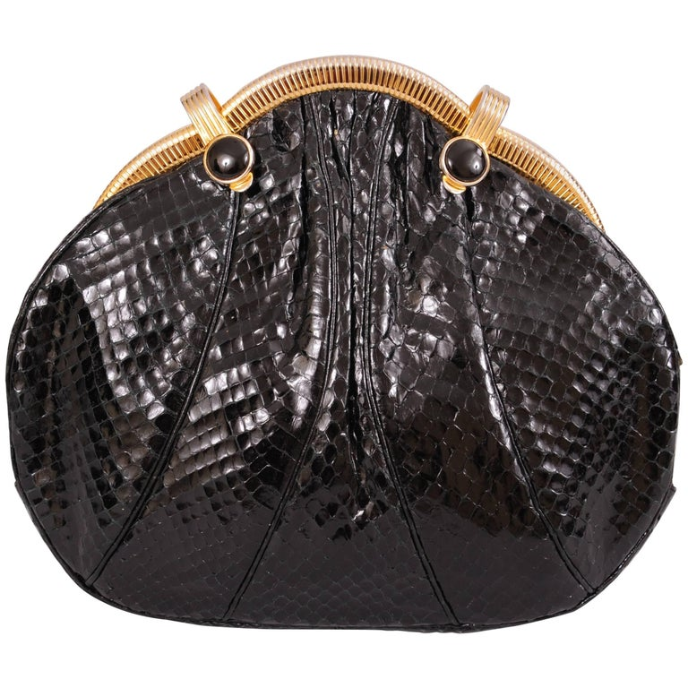 Judith Leiber Black Snakeskin Bag with Onyx and Gold Frame For Sale