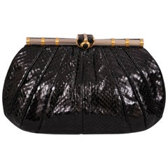 Judith Leiber Black Snakeskin Clutch with Onyx Silver and Gold Frame