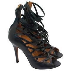 Isabel Marant Paw Black Leather Heeled Sandals