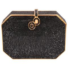 Judith Leiber Black Jeweled Minaudiere, Rose Quartz and Onyx Clasp