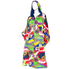 1970S Multicolor Psychedelic Polyester Empire Waist Bell Sleeve Hooded Dress Wi