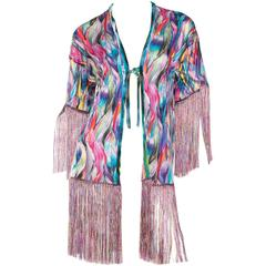 Slinky Silk Jersey Missoni Kimono with Fringe