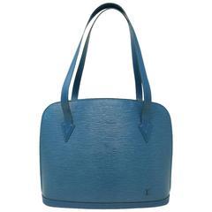 Louis Vuitton Blue Epi Lussac Large Leather Shoulder Bag