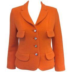 Chanel Boutique Mandarin Orange Wool Blend Jacket W Mirrored Logo Buttons