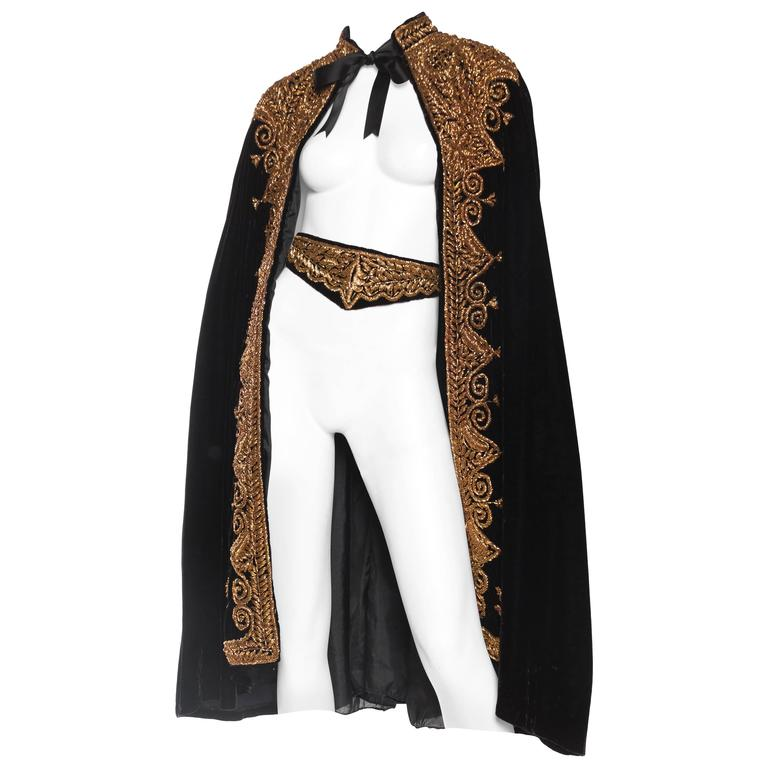 Lush Velvet Cape Elaborately Embroidered with Metallic Copper For Sale