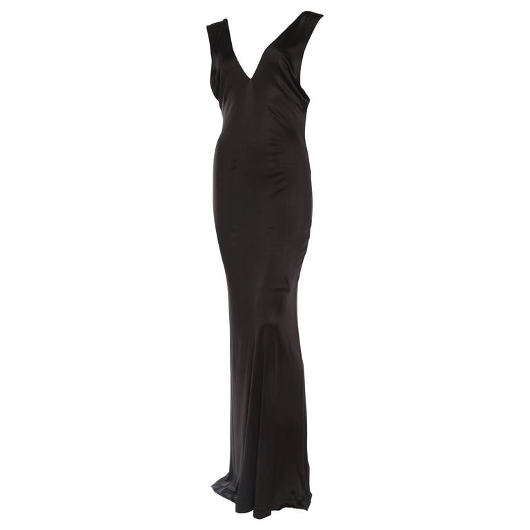1990s Vintage Versus Versace Slinky Backless Jersey Gown