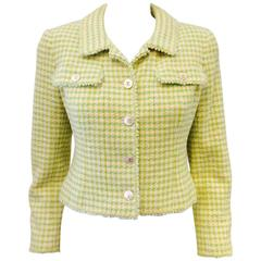 Chanel Boutique Green & Yellow Tweed Cropped Jacket-Mother of Pearl Buttons