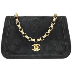 Vintage Chanel Black Quilted Suede Gold Tone Chain Link Shoulder Bag