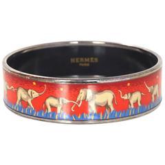 Hermes Red/Blue Elephant Print Wide Enamel Bangle Bracelet Sz 65
