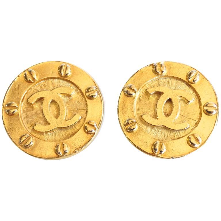 1980s Chanel Gold CC Earrings 1