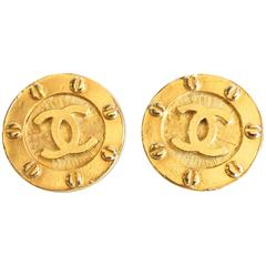 1980s Chanel Gold CC Earrings