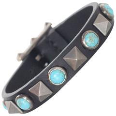 Valentino Black Leather & Turquoise Stone & Studded Bracelet