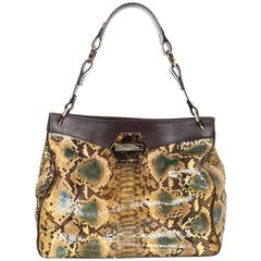 Oscar De La Renta Multi-Colored Python Shoulder Bag