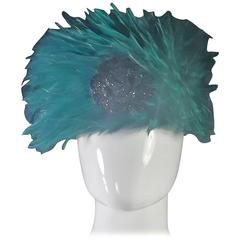 Rare Emerald Green Feather with Black Glitter Rose Hat by Chanel