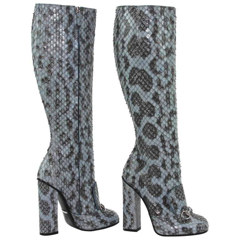 New GUCCI Campaign $3500 PYTHON Horsebit Knee High Boot Aquamarine 36.5 - 7 For Sale
