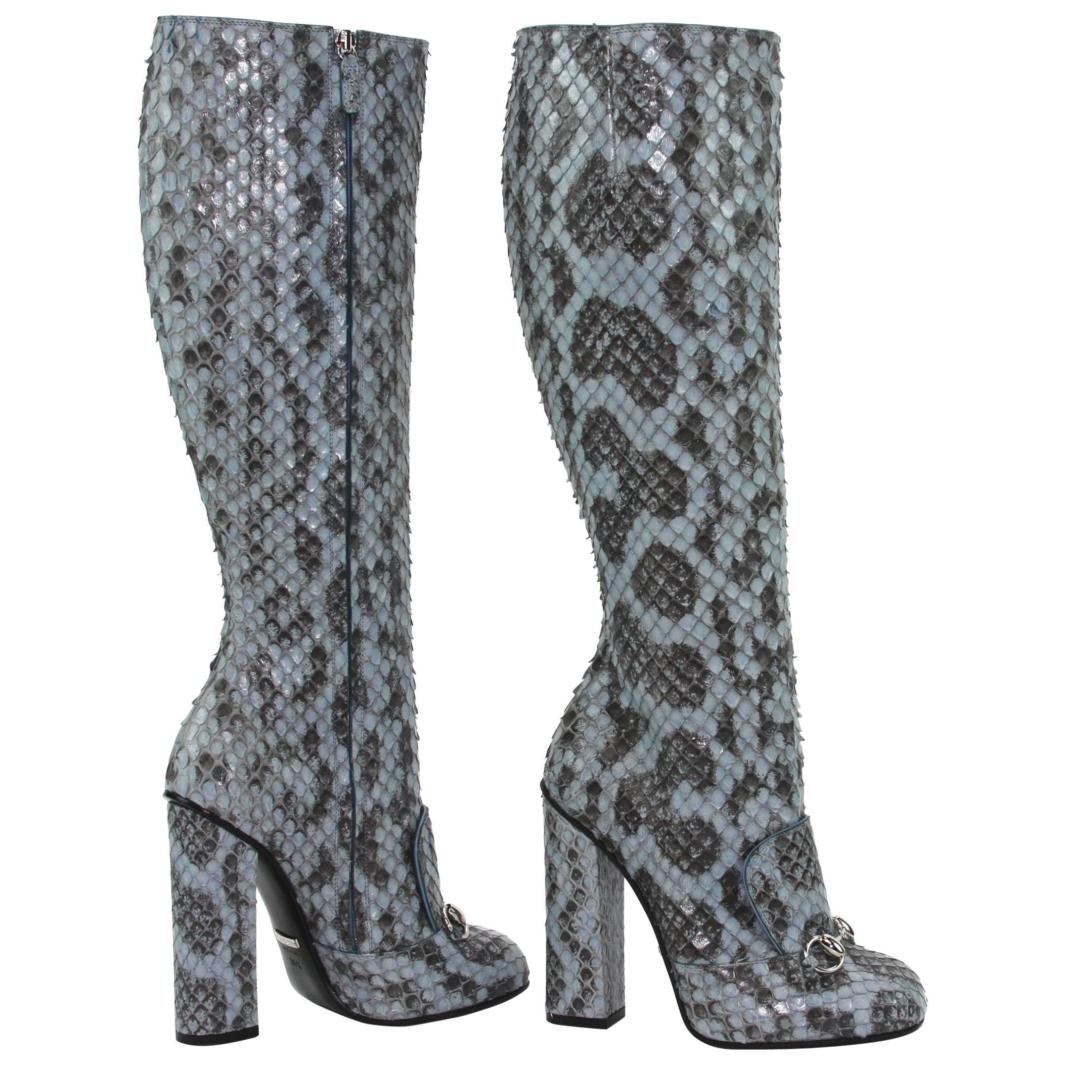 New GUCCI Campaign $3500 PYTHON Horsebit Knee High Boot Aquamarine 36.5 - 7