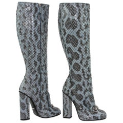 New GUCCI Campaign $3500 PYTHON Horsebit Knee High Boot Aquamarine 36.5 - 7
