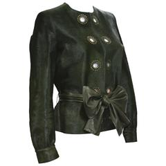 New Yves Saint Laurent Calf Hair Green Leather Jacket with Belt