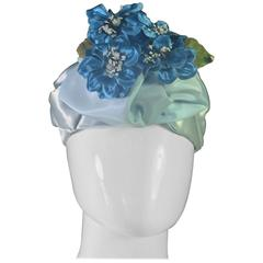 Beautiful 1950's Robin Egg Blue Satin Hat with Deep Blue Satin Flowers