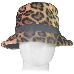 Gorgeous Faux Leopard Fur Hat with Jaunty Black Grosgrain Ribbon