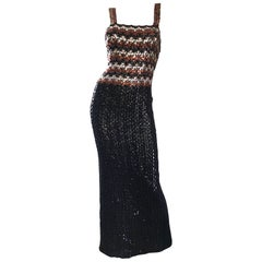 1970s Sequined Black + Brown + Silver Vintage 70s Knit Sexy Evening Gown Dress