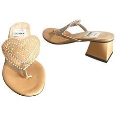 Brand New 1990s TODD OLDHAM Heart Shaped 36.5 6.5 Avant Garde Block Heel Sandals