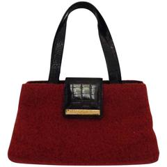Bulgari Red Boiled Wool Shoulder Bag