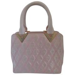 Valentino Pink Swarovski Gold Tone Hardware Handle Bag