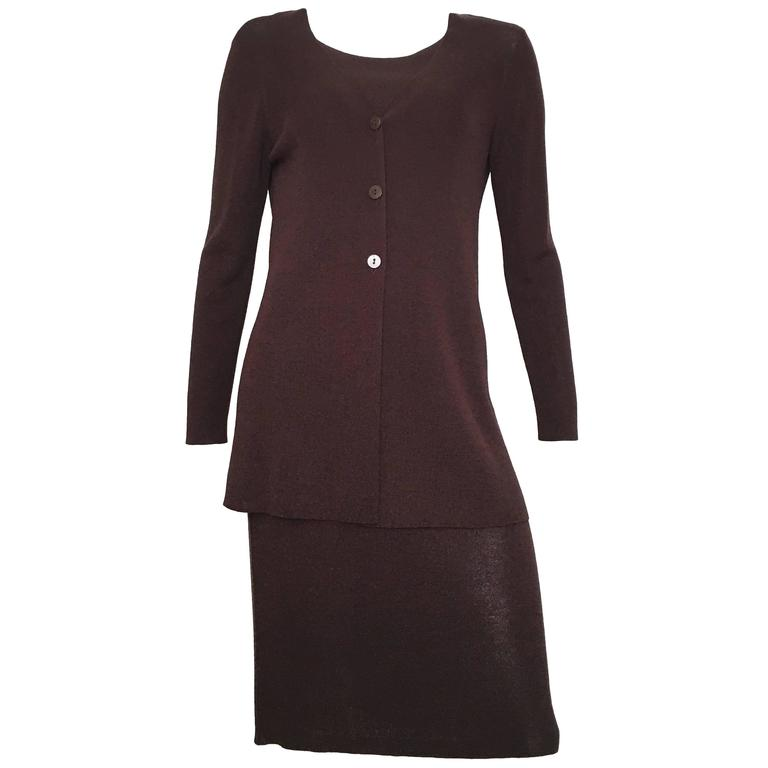 Saks Fifth Avenue Brown Knit Sleeveless Dress & Jacket Size 4/6.