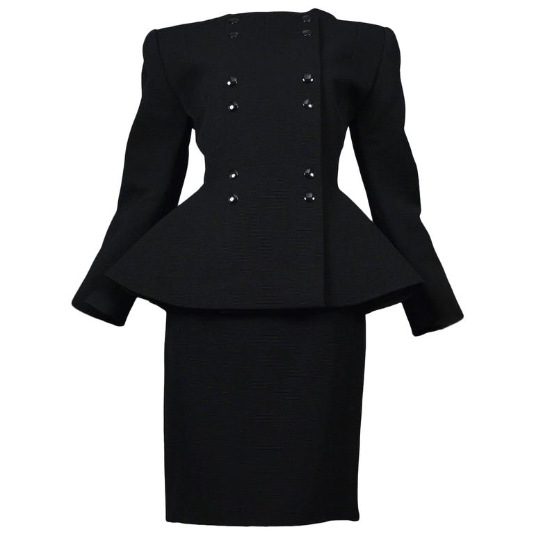 Pierre Cardin Couture Black Faille Suit