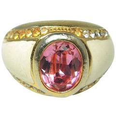 Vintage Christian Dior Pink Oval Crystal and Enamel Ring
