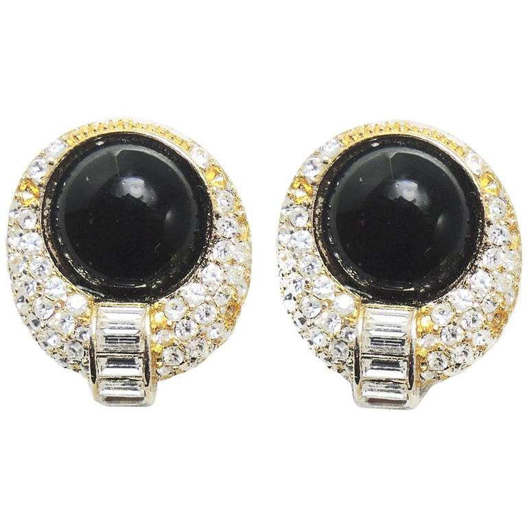 Vintage 1970s Dior Black Gl And Crystal Clip Earrings For