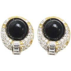 Vintage 1970s Christian Dior Black Glass and Crystal Clip Earrings