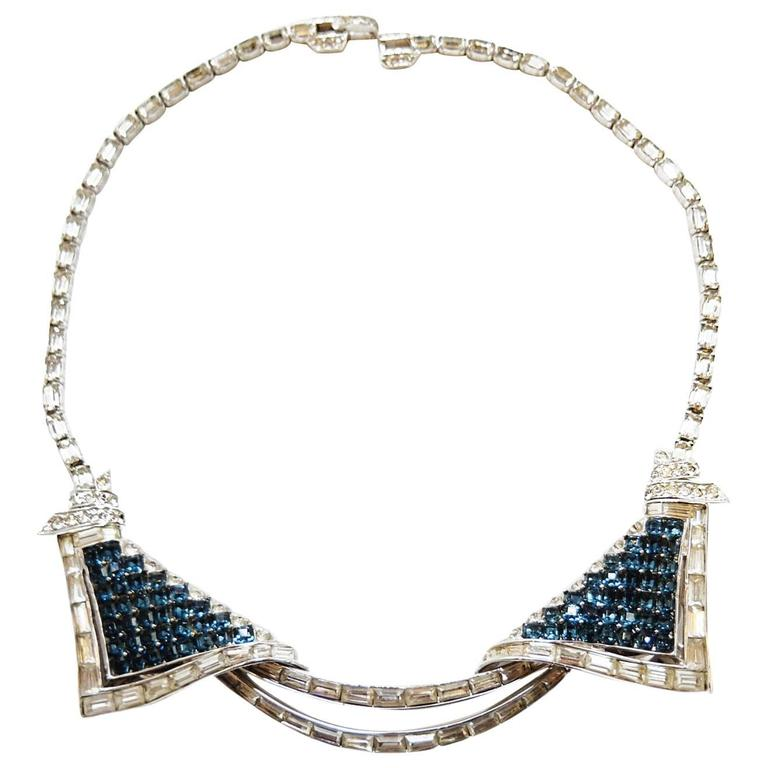 Marcel Boucher Vintage Faux Sapphire Duette Necklace, 1950s  For Sale