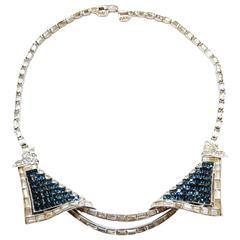 Vintage 1950s Marcel Boucher Faux Sapphire Duette Necklace