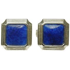 Christian Dior Vintage Silver Tone Faux Lapis Clip Earrings