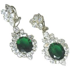 Vintage 1950s Sterling Silver Green Crystal Couture Drop Earrings