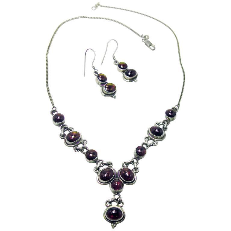 Vintage 1940s Sterling Silver Garnet Necklace And Earring Set For
