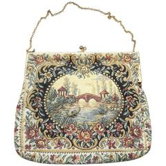 Water Under The Bridge Vintage Tapestry Purse, 1920s