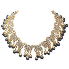 Beautiful Sparkling Rhinestone Dangling Collar Nec