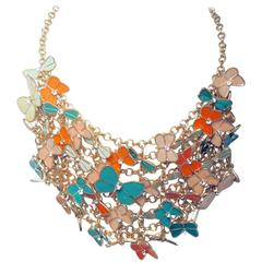 Mischievous Beautiful Coral & Mint Enameled Butterfly Neck