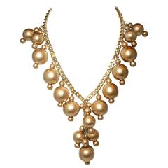 Anka One-Of-A-Kind Massive Champagne Pearl Drop Necklace