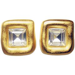 Vintage 1980s Givenchy Crystal Clip Earrings