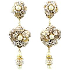 Vintage DeMario Faux Seeded Pearl Clip Drop Earring