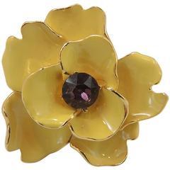 Kenneth Lane Amethyst & Yellow Enamel Floral Ring
