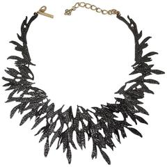 Signed Vintage Oscar De La Renta Black Enamel Branch Necklace