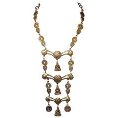 Accessocraft NYC Vintage Tiered Buddha Asian Necklace, 1950s