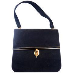 1960s Vintage Suede Bienen - Davis Black Handbag